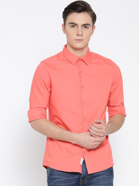 Buy United Colors Of Benetton Men Coral Pink Solid Casual Shirt ...