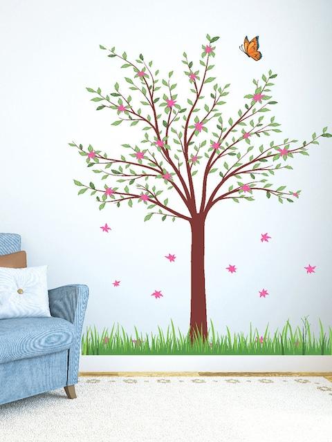 buy destudio multicoloured tree with flower wall sticker - decals
