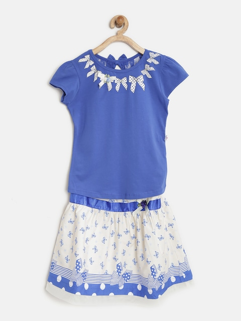 Peppermint Girls Blue & Off-White Printed Clothing Set thumbnail