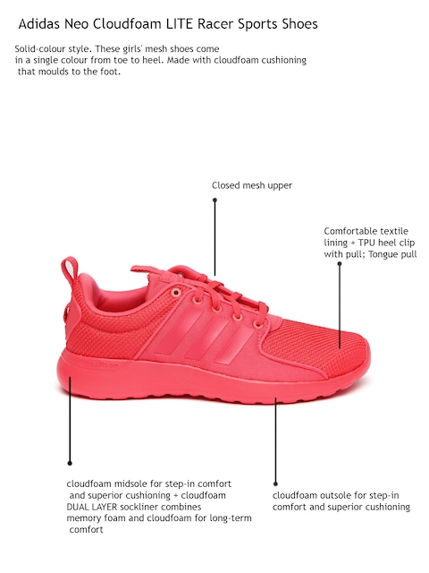 online retailer 7ba2a b60e8 ... mesh camel Buy Adidas NEO Women Neon Pink Cloudfoam Lite Racer Sneakers  ...