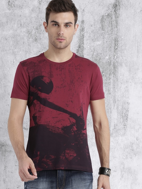 Roadster Men Maroon Printed T-shirt thumbnail
