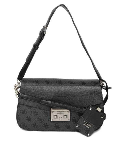 Guess Grey Black Logo Print Shoulder Bag With Sling Strap Handbags For Women 1738182 Myntra