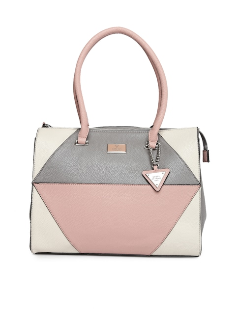Guess Pink Grey Colourblocked Handheld Bag Handbags For Women 1738211 Myntra
