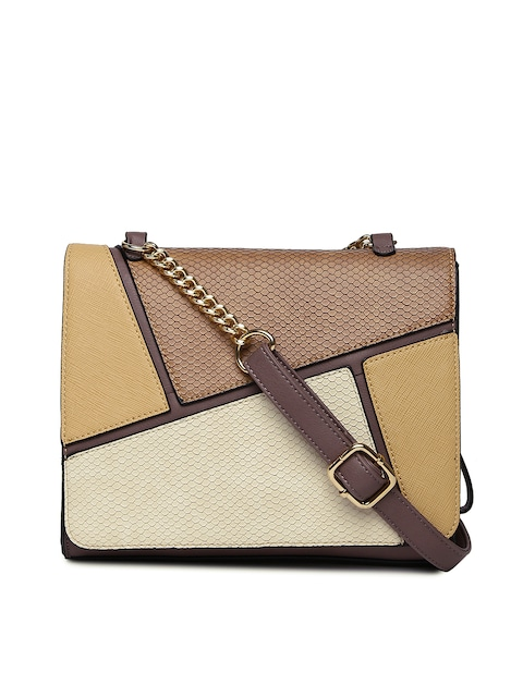 Buy CODE By Lifestyle Brown & Beige Colourblocked Textured Sling ...