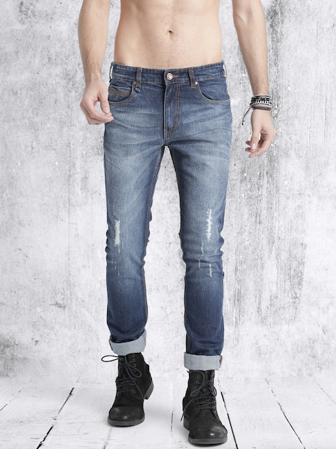 Roadster Men Blue Skinny Fit Mid-Rise Low Distress Jeans thumbnail