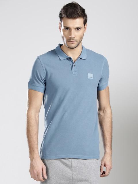 Buy BOSS Orange Men Blue PASCHA Solid Slim Polo Collar T Shirt - Tshirts  for Men 1762597 | Myntra