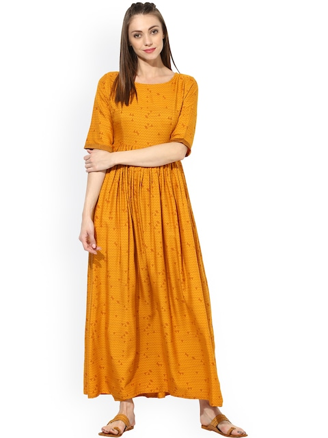 Aks Women Mustard Yellow Printed Maxi Dress Dresses For 1798104 Myntra