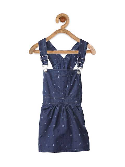 StyleStone Girls Blue Printed Denim Dungaree Dress thumbnail