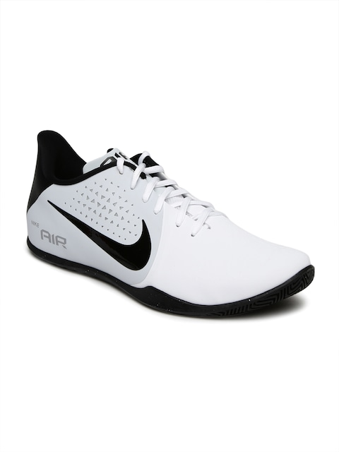 nike basketball shoes all white. buy nike men white \u0026 black air behold low basketball shoes - sports for | myntra all