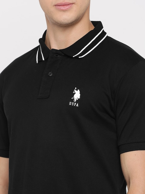 Buy U.S. Polo Assn. Men Black Solid Polo T Shirt - Tshirts for Men ...
