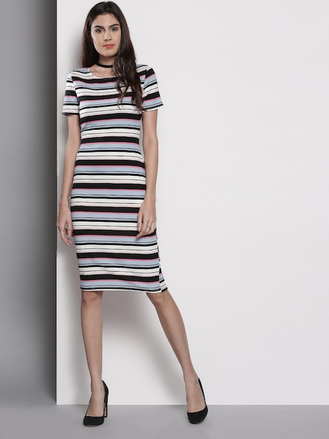 Dorothy Perkins Womens Navy Striped Knitted Mini Dress-