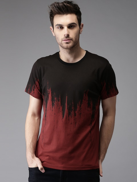 Moda Rapido Men Maroon & Black Printed T-shirt thumbnail