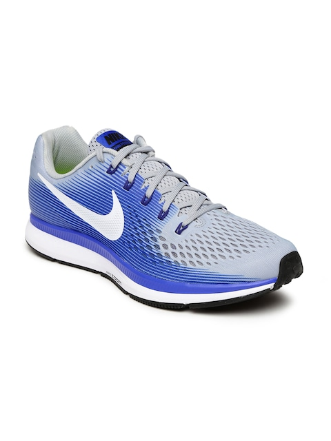 nike running shoes for men blue. buy nike men blue \u0026 grey air zoom pegasus 34 running shoes - sports for | myntra
