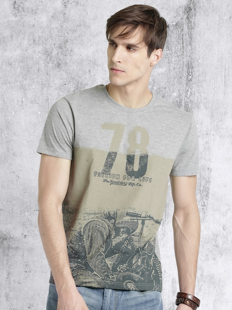 Roadster Men Grey Printed Round Neck T-shirt thumbnail