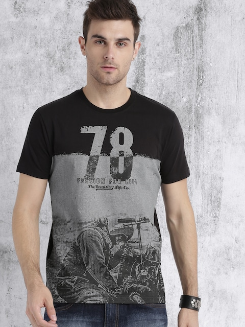 Roadster Men Black & Grey Printed T-shirt thumbnail