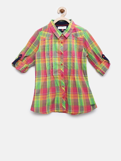U.S. Polo Assn. Kids Girls Pink & Green Checked Casual Shirt thumbnail