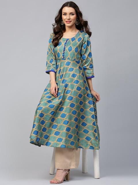 Buy Libas Women Blue Amp Green Printed Anarkali Kurta