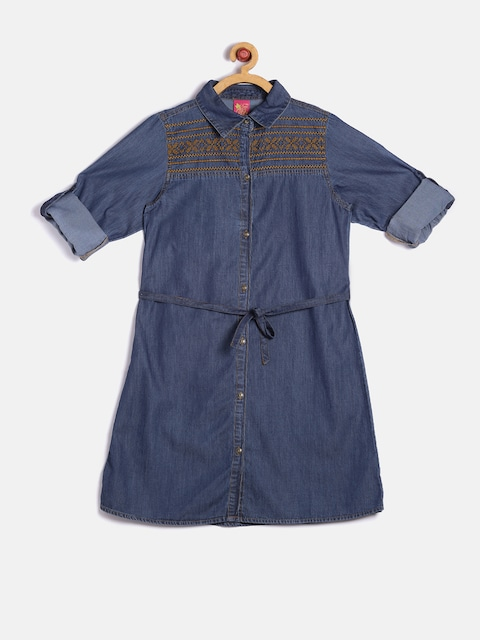 Miss Alibi Girls Navy Denim Shirt Dress thumbnail