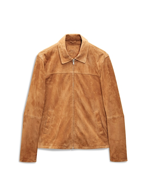 Buy Next Men Tan Brown Solid Suede Leather Jacket - Jackets for ...