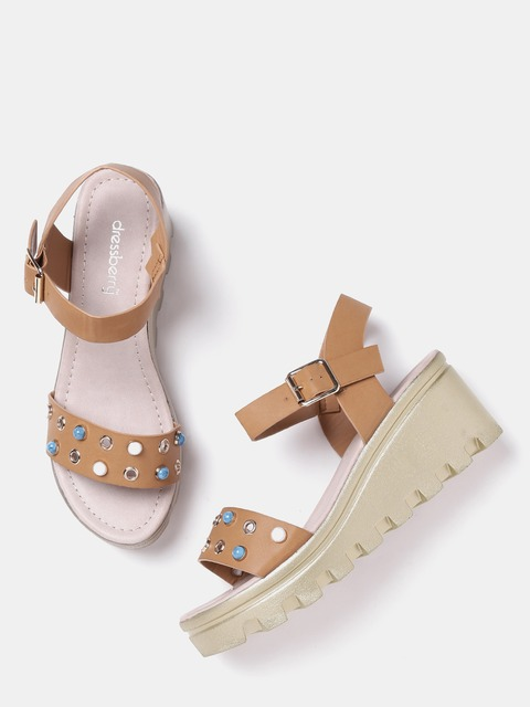 DressBerry Women Brown Embellished Sandals thumbnail