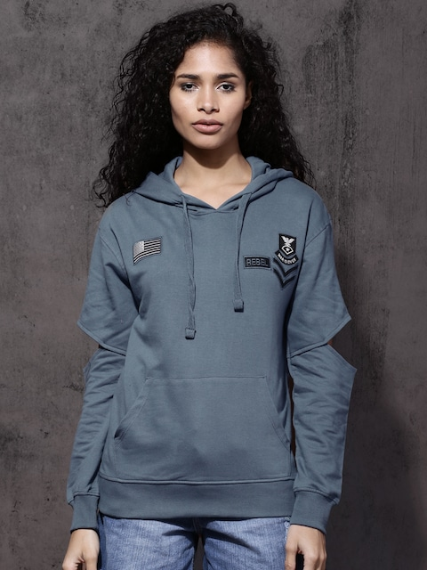 Roadster Women Blue Solid Hooded Sweatshirt thumbnail