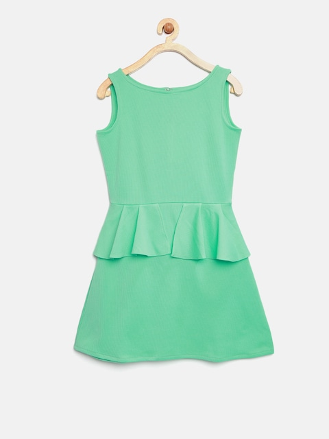 K&U Girls Sea Green Solid Peplum Dress thumbnail