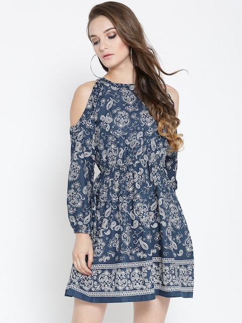 Sera Women Navy Printed Fit and Flare Dress