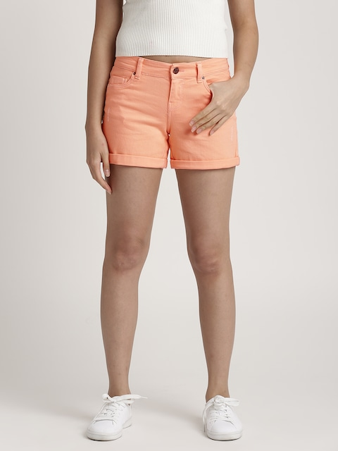 promod Women Orange Solid Regular Fit Denim Shorts thumbnail