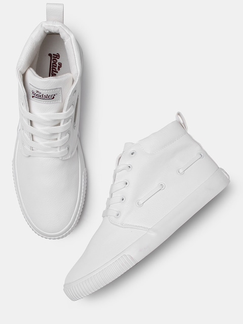 Roadster Men White Solid Synthetic Mid-Top Sneakers