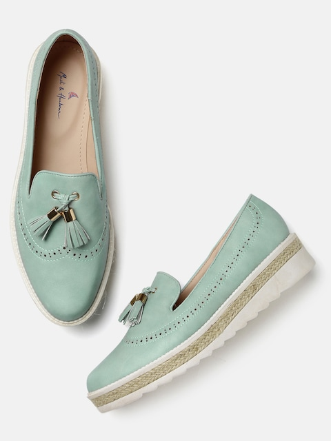 Mast & Harbour Women Blue Tasseled Heeled Loafers thumbnail