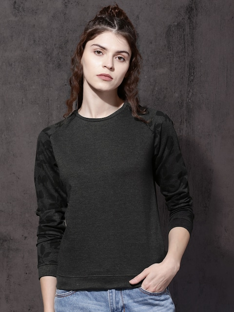 Roadster Women Charcoal Grey Solid Sweatshirt thumbnail
