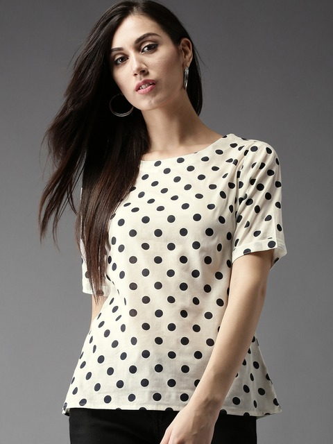 HERE&NOW Women Off-White & Black Polka Dot Print Top thumbnail