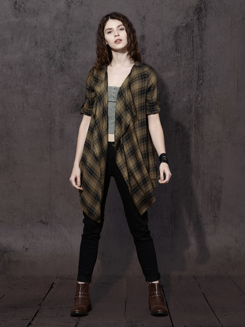 Roadster Brown & Black Checked Front-Open Shrug