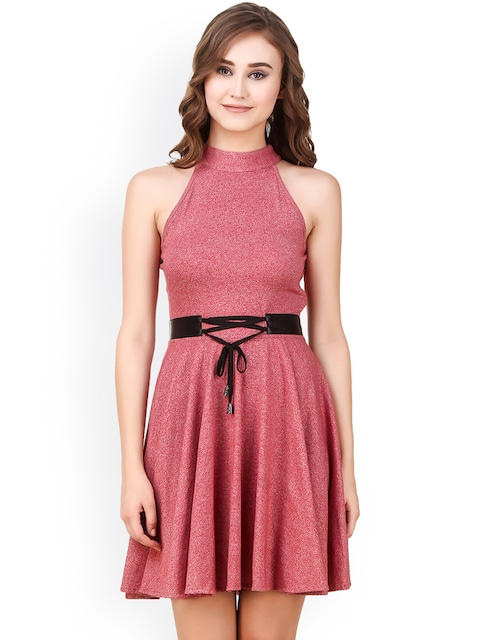 Buy Texco Women Pink Solid Fit & Flare Dress With Lace Ups - Dresses ...
