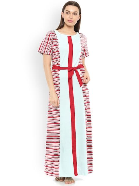 Mystere Paris Blue & Red Striped Maxi Nightdress C241B