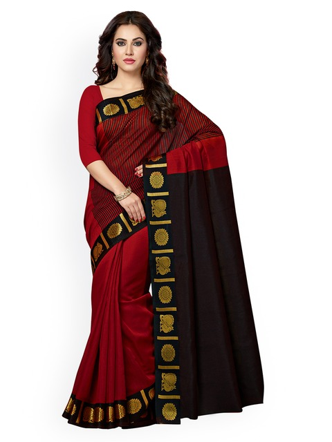 Ishin Red & Black Silk Cotton Woven Design Chanderi Saree