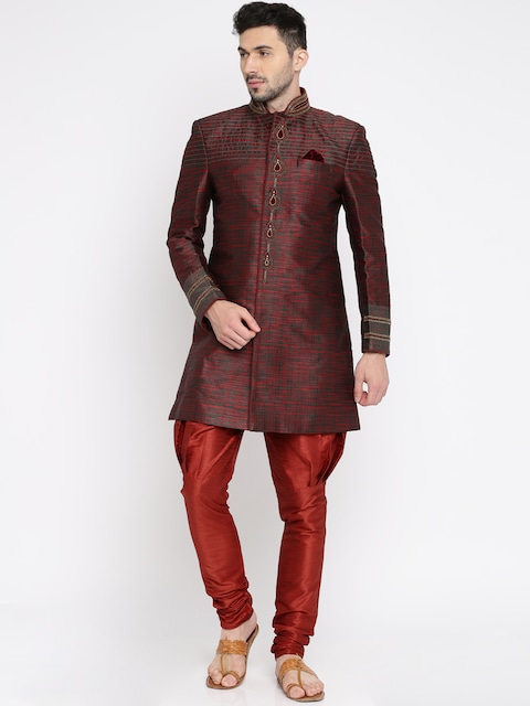 Offer Get upto 50% off on Manish Creations Men Maroon Woven Design Silk Sherwani