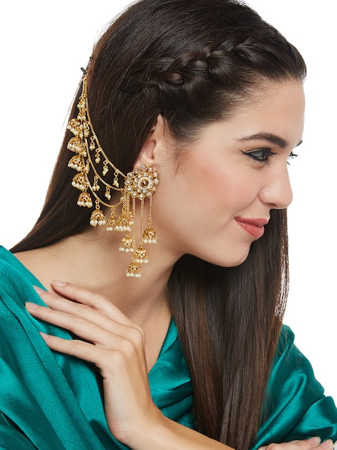 Myntra PANASH Gold-Toned Classic Jhumkas