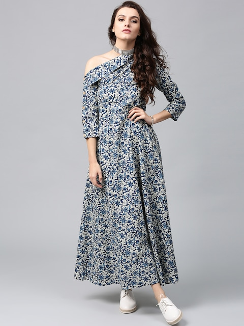 AKS Women Blue & Off-White Printed One-Shoulder Maxi Dress