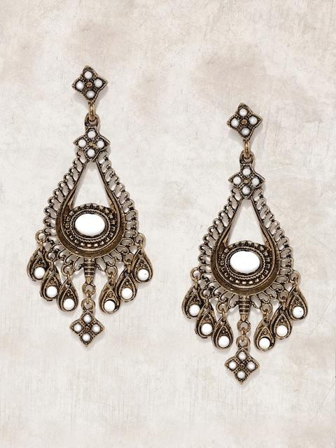 Anouk Antique Gold-Toned & White Teardrop Shaped Drop Earrings