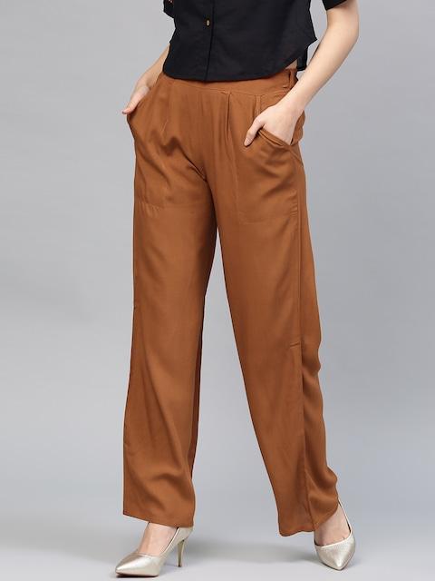 Jaipur Kurti Women Brown Solid Straight Palazzos