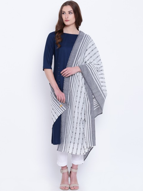 AURELIA White & Grey Striped Dupatta