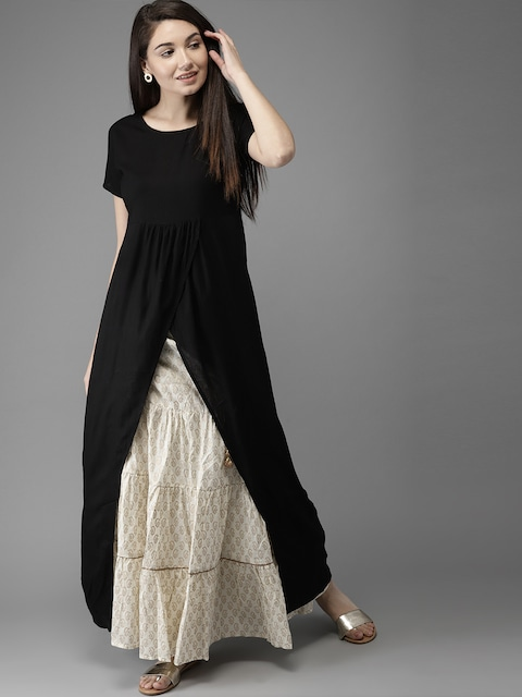 HERE&NOW Women Black Solid Maxi Top