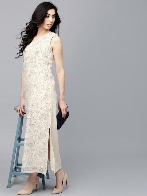 AKS Women Beige Printed Maxi Dress