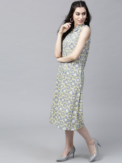 AKS Women Off-White & Blue Printed Midi Shirt Dress