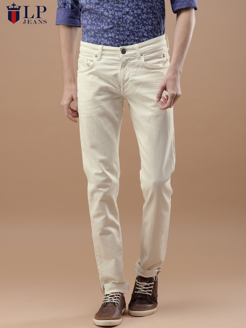 Louis Philippe Jeans Men Cream Coloured Slim Fit Low Rise Clean Look Stretchable Jeans 10% Cashback on Airtel Money