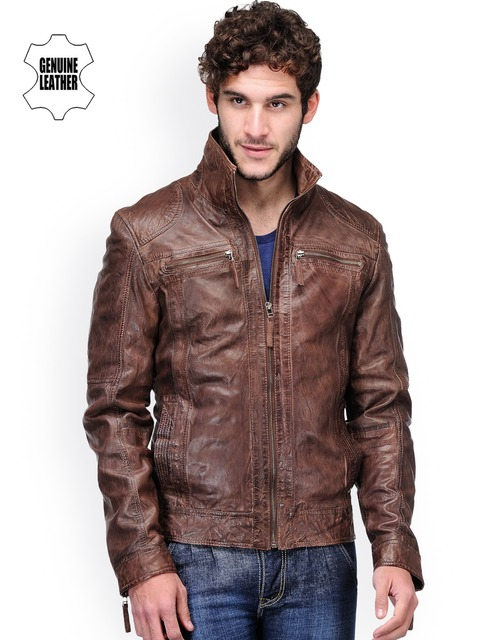 Buy Teakwood Leathers Men Coffee Brown Leather Jacket - Jackets ...