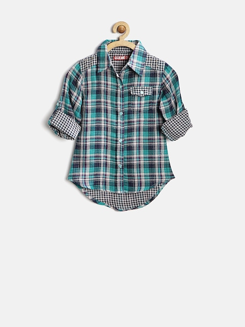 GJ Unltd Jeans by Gini & Jony Girls Green Checked Shirt thumbnail
