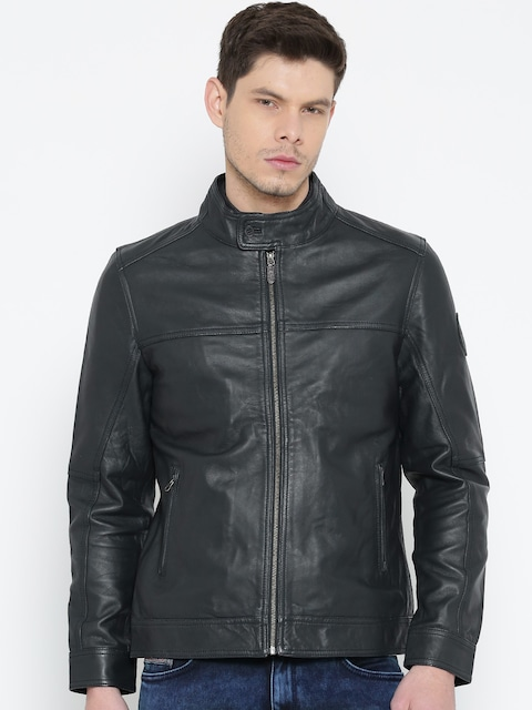 Buy U.S. Polo Assn. Navy Leather Jacket - Jackets for Men | Myntra