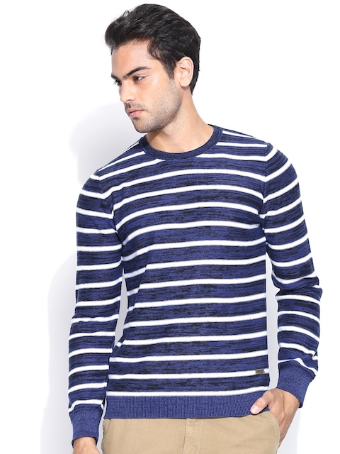 Buy United Colors Of Benetton Men Blue & White Striped Sweater ...